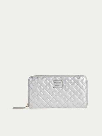Zip around laminated quilted nappa purse