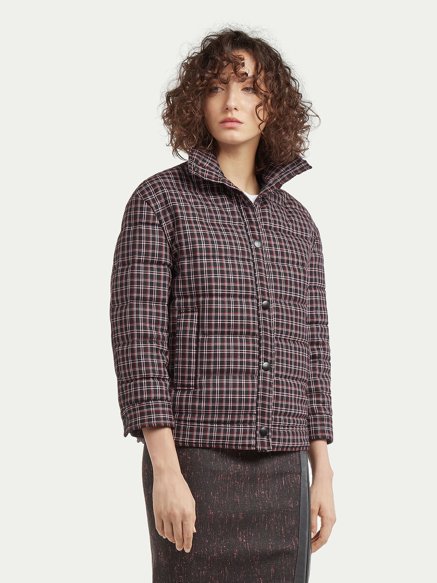 Cropped jacket in tartan wool