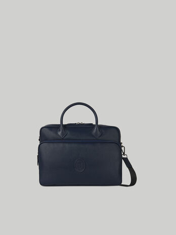 Urban briefcase in faux saffiano leather