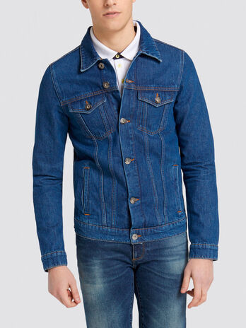 Giubbino slim fit in denim con patch sul retro