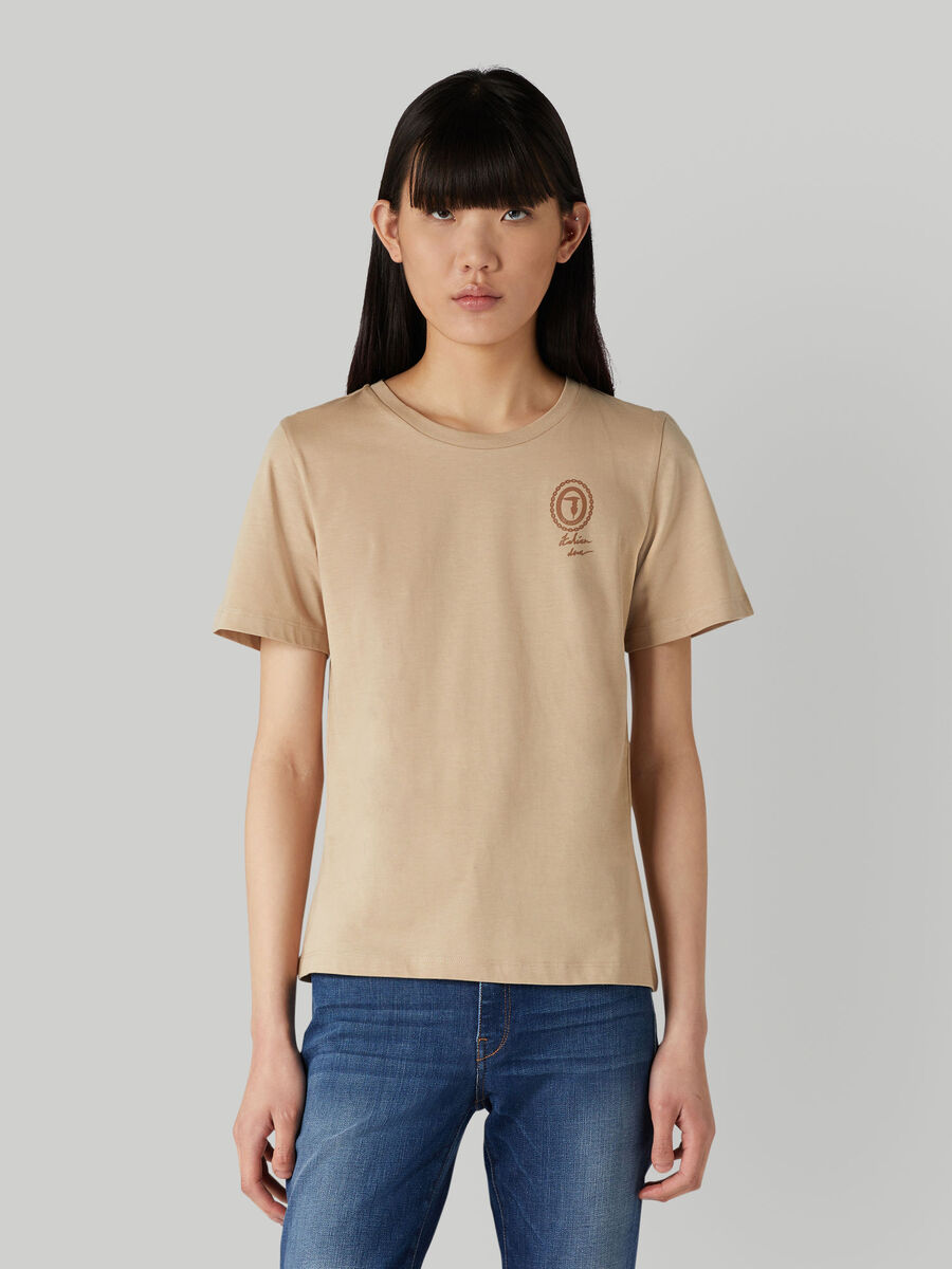 T-shirt regular fit in jersey con logo in tono