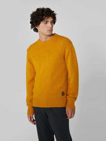Regular fit crew neck wool and alpaca pullover