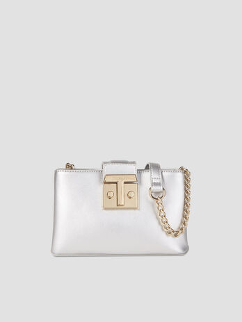 Small Tulip crossbody bag in metallic faux leather