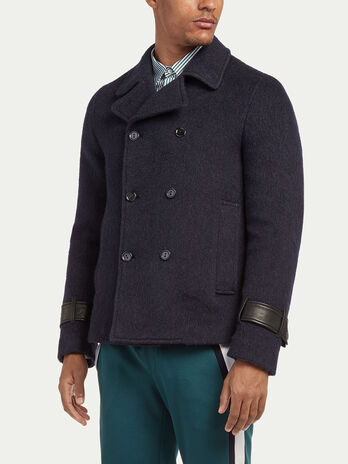 Slim fit mohair pea coat with strap details