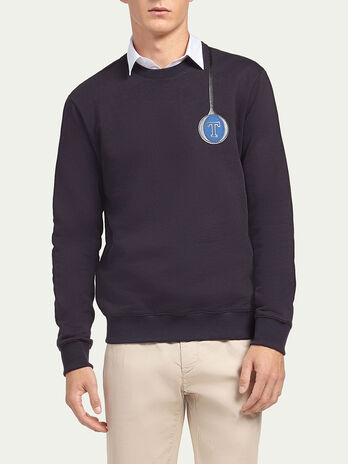 Pure cotton sweatshirt with logo patch