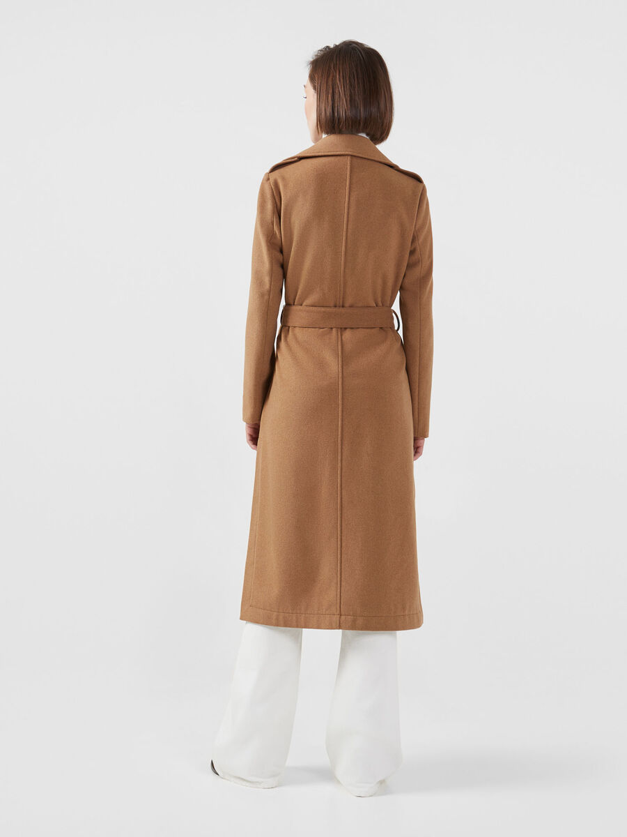 Belted long fabric coat