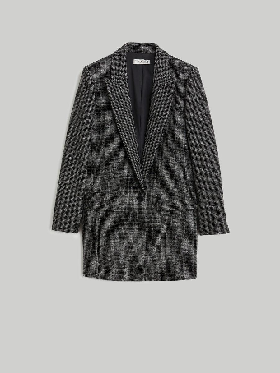 Wool micro-chequered fabric blazer