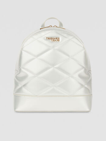 Medium T-Easy City backpack in metallic faux leather