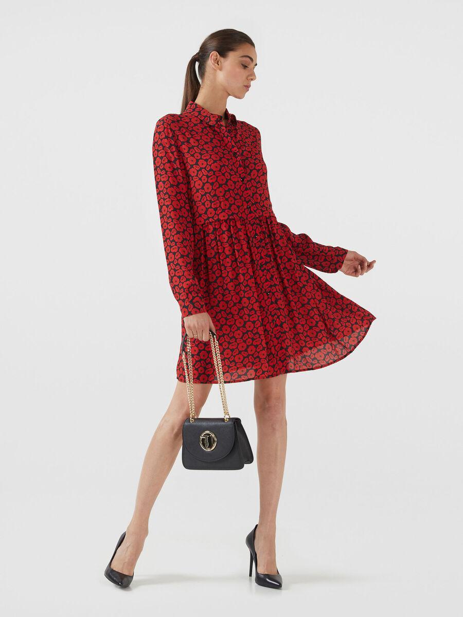 Kleid aus Viskosekrepp mit Print