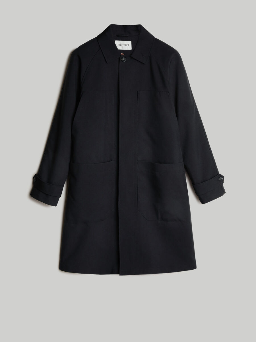 Technical fabric car coat with maxi-pockets
