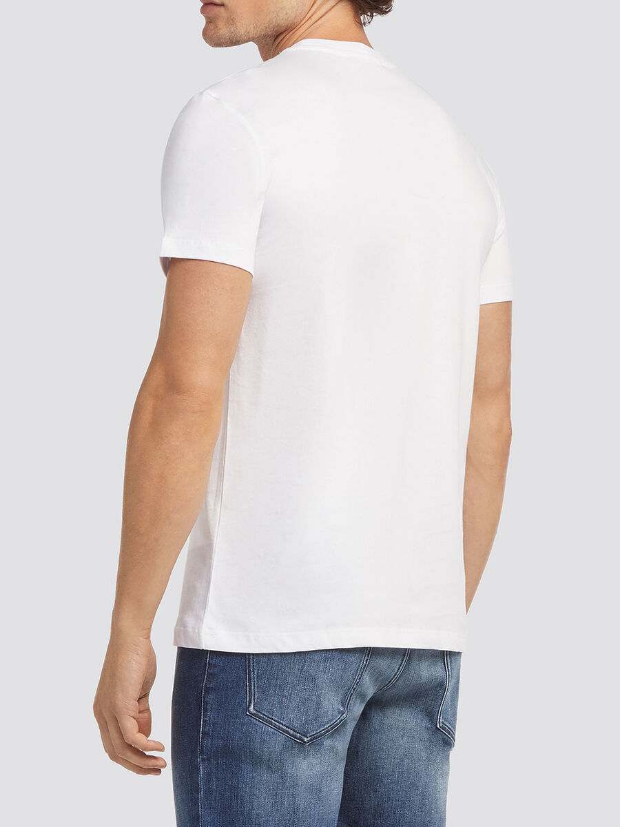 Melange cotton jersey T-shirt with breast pocket