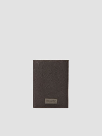 Faux saffiano leather vertical wallet