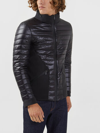 Regular fit nylon and neoprene down jacket