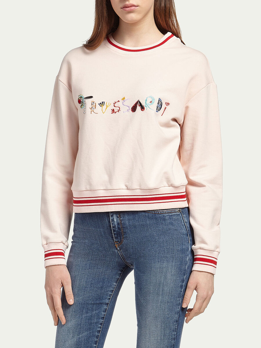 Cropped sweatshirt with lettering logo embroidery