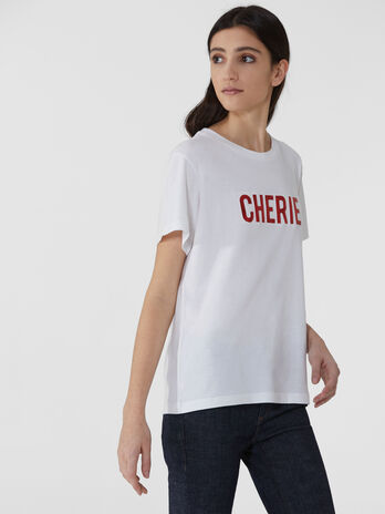 Boxy pure cotton T-shirt with lettering
