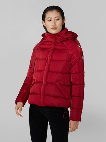 Short nylon satin down jacket