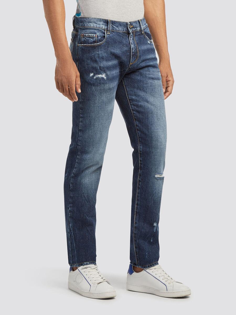Sandblasted distressed effect jeans
