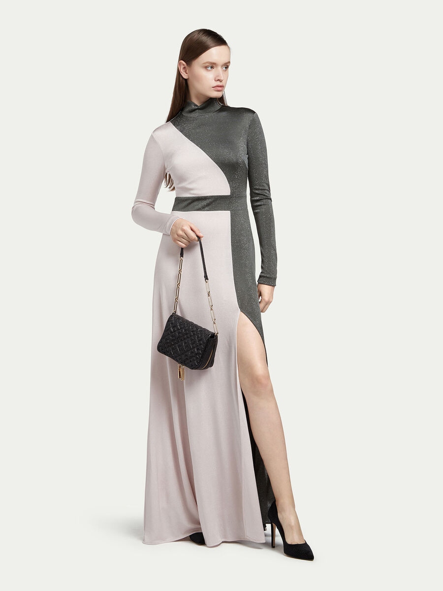 Long jersey dress with lurex detailing