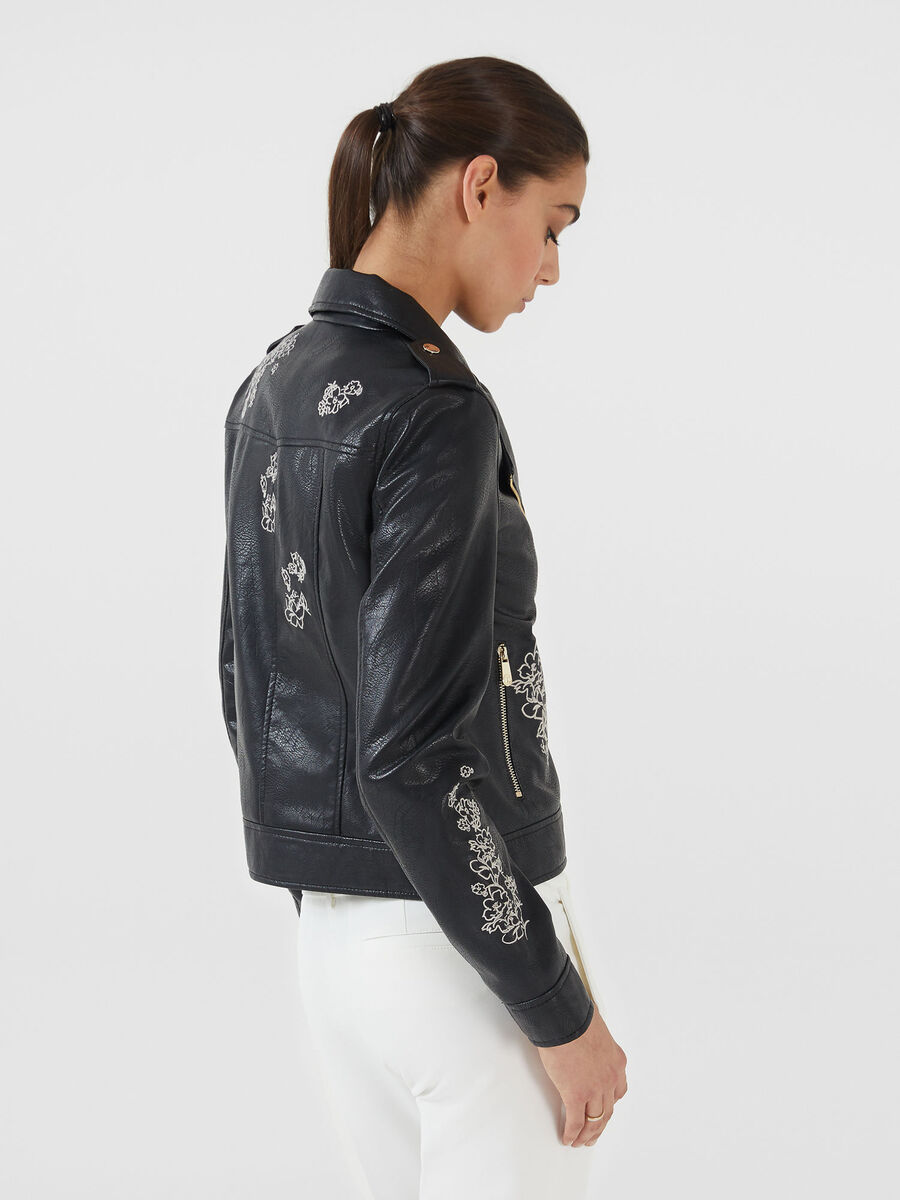 Faux leather motorcycle jacket with embroidery