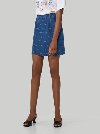 Jacquard denim mini skirt
