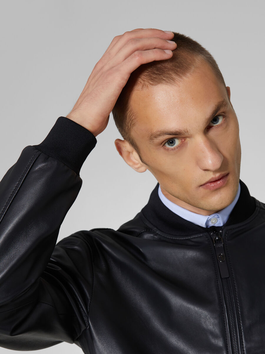 Soft touch leather bomber jacket