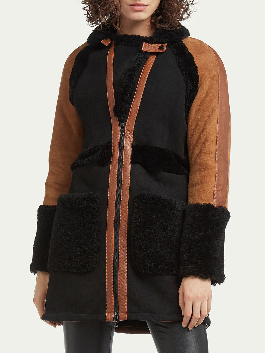 Manteau shearling a blocs de couleurs