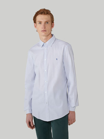 Slim-fit printed poplin shirt