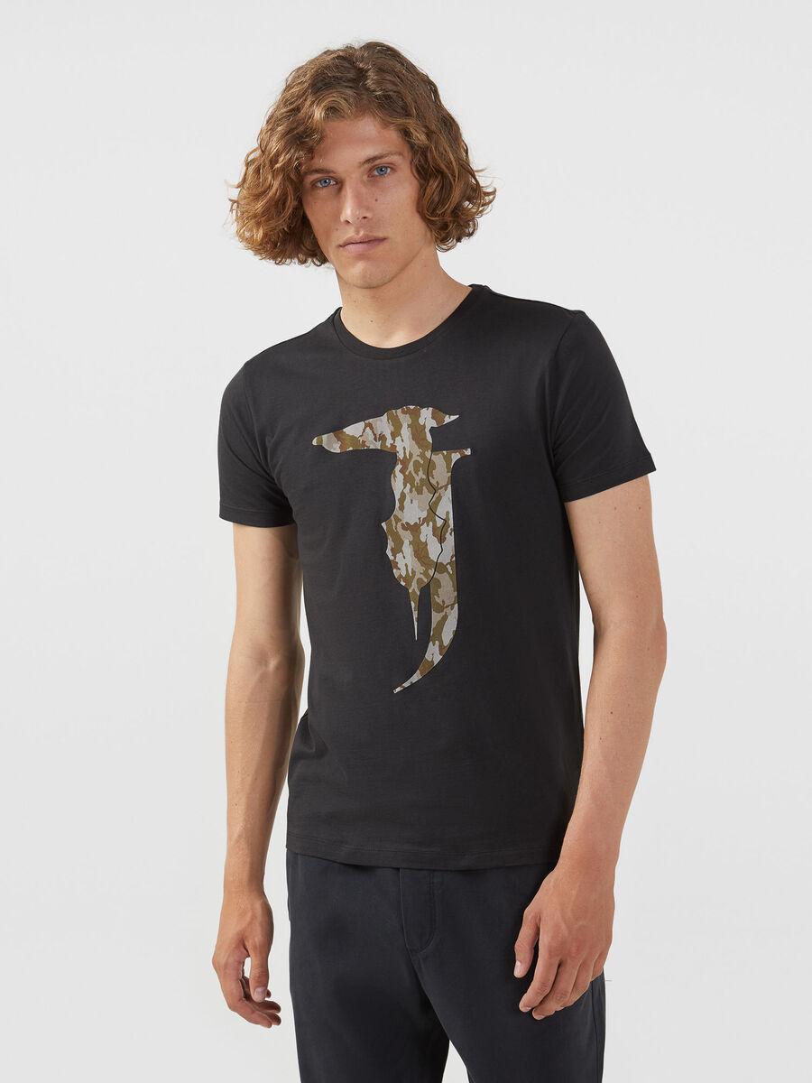 Camiseta de corte regular de punto con maxilogotipo