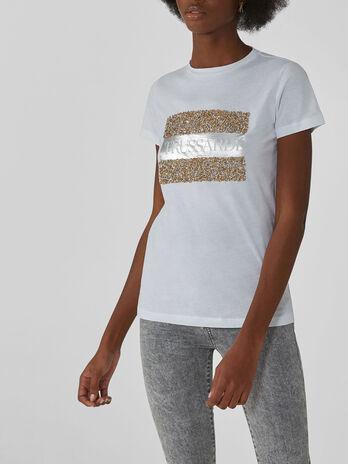Regular-fit cotton T-shirt with rhinestones