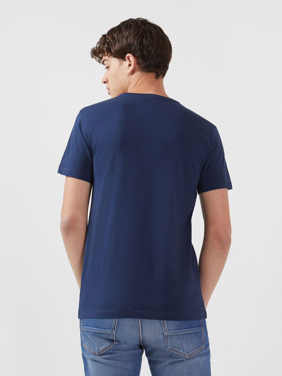 Regular fit solid colour jersey T-shirt with lettering