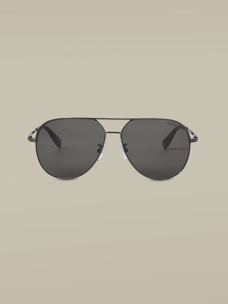 Aviator sunglasses in dark silver titanium