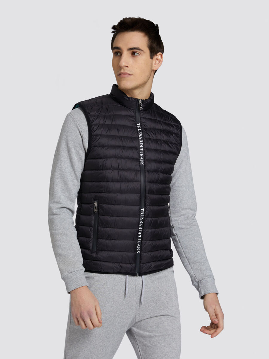 Slim fit matte nylon gilet with lettering band