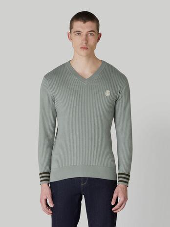 Regular-fit cotton and silk V-neck pullover