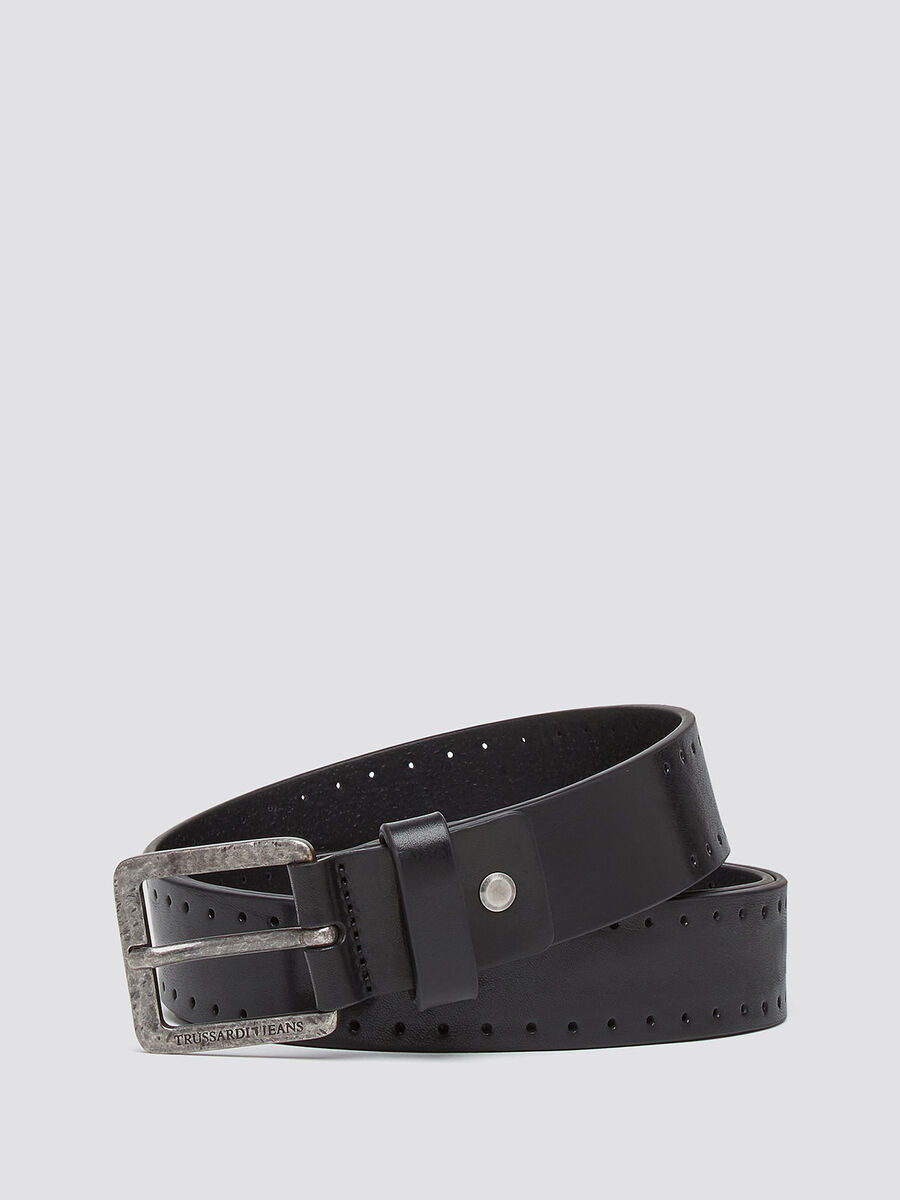 Misdyed effect leather belt