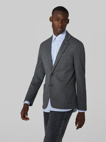 Slim fit patterned jersey blazer