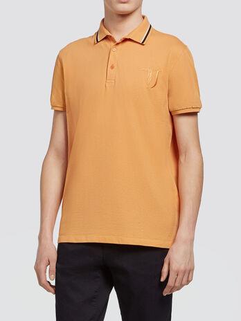 Pique polo shirt with striped collar and logo