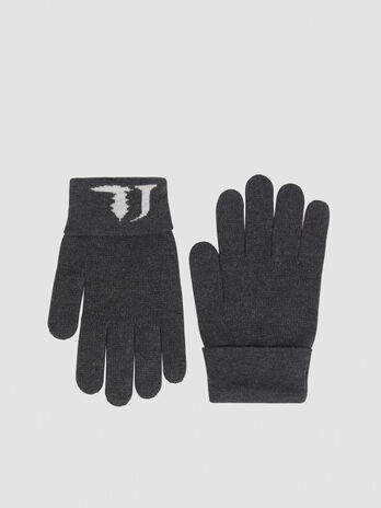 Cashmere blend gloves with jacquard logo