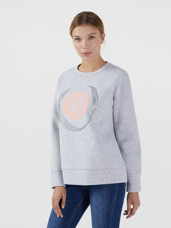 Oversized neoprene sweatshirt with monogram detailing