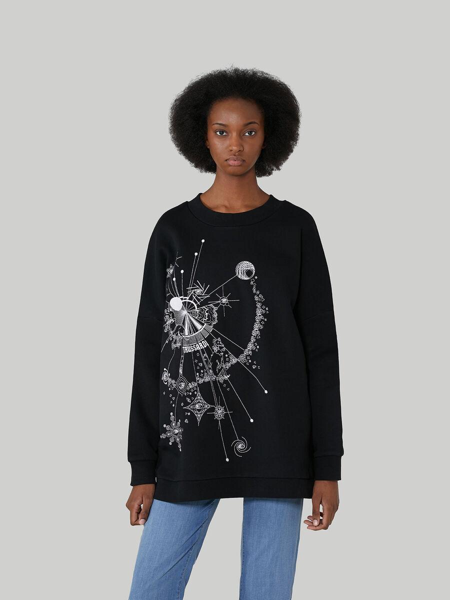 Sweat-shirt coupe over en coton imprime