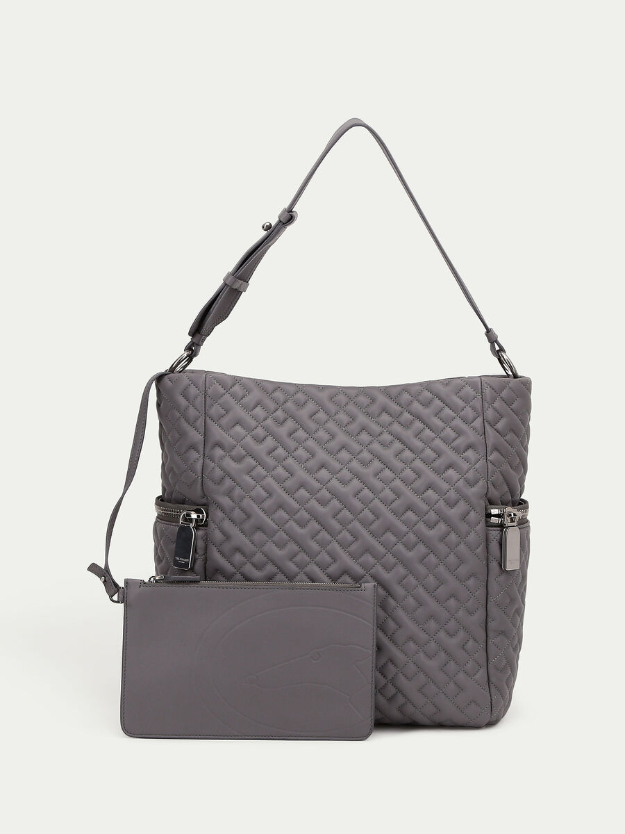 Biker style hobo bag in quilted nappa with clutch