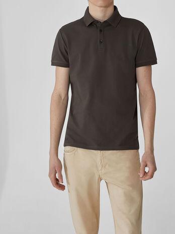 Regular-fit stretch pique polo-shirt