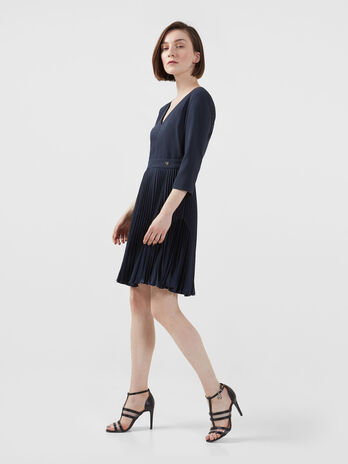 Crepe de chine dress with pleated skirt