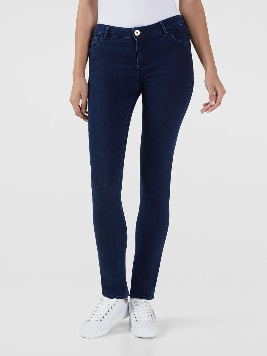 Jeans Up Fifteen aus elastischem Satin Denim