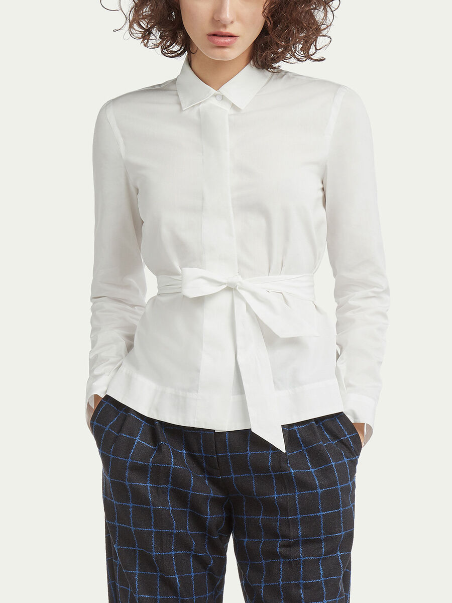Cotton poplin belted shirt