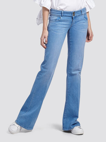 Flared stretch jeans with floral embroidery