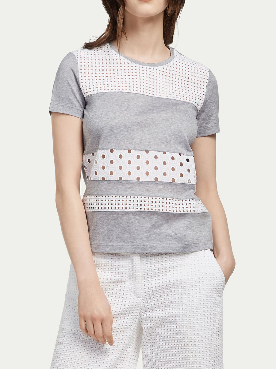 Jersey T shirt with broderie anglaise