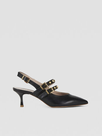 Leather pumps with stud details
