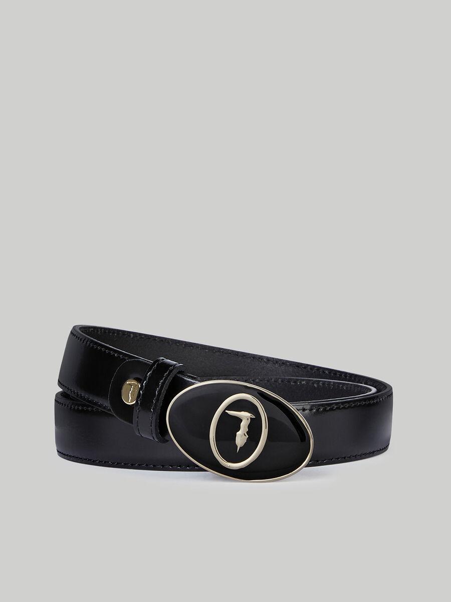 Belt with enamelled monogram buckle