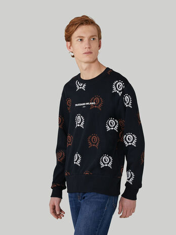 Regular-fit cotton sweatshirt with monogram print