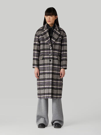 Chequered wool-blend coat